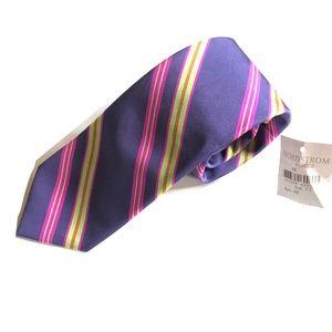Peter Millar Silk Tie Purple Green Multi-Color